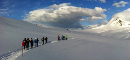 Les Saisies, a team hiking to the Col de la Croix de Pierre: the sky is clear for now, but will we reach our goal